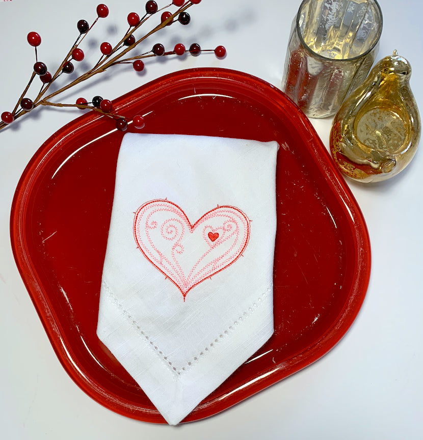 Doodle Heart Valentine's Day Cloth Napkins - White Tulip Embroidery