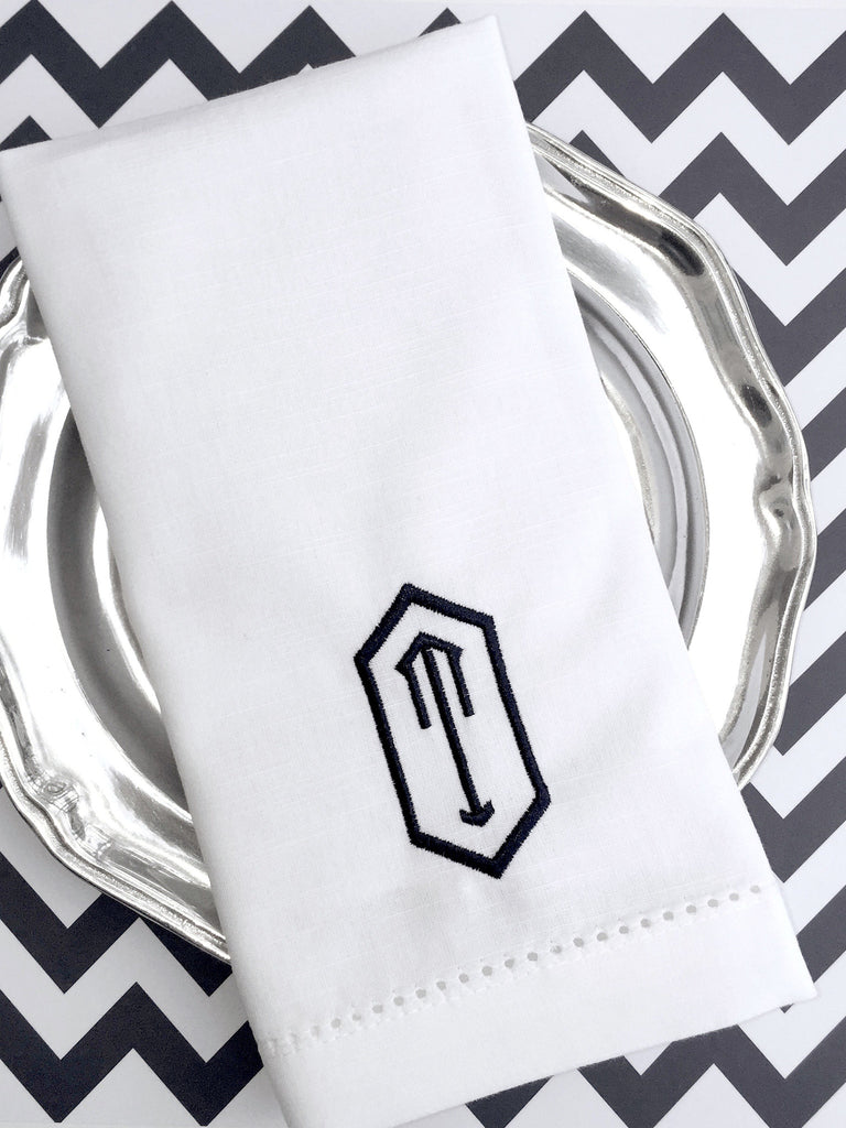 Hexagon Monogrammed Napkins - Set of 4 napkins - White Tulip Embroidery