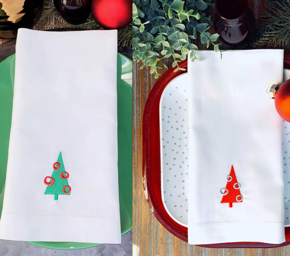 Retro Christmas Tree Embroidered Cloth Napkins - Set of 4 napkins-White Tulip Embroidery