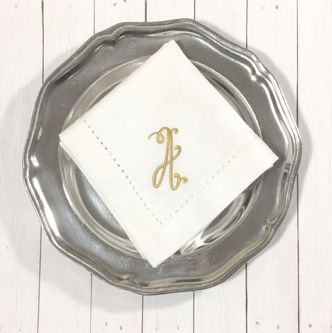 Florence Monogrammed Cloth Napkins - Set of 4 napkins - White Tulip Embroidery