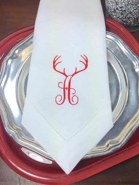 Deer Antler Monogrammed Embroidered Cloth Dinner Napkins - White Tulip Embroidery
