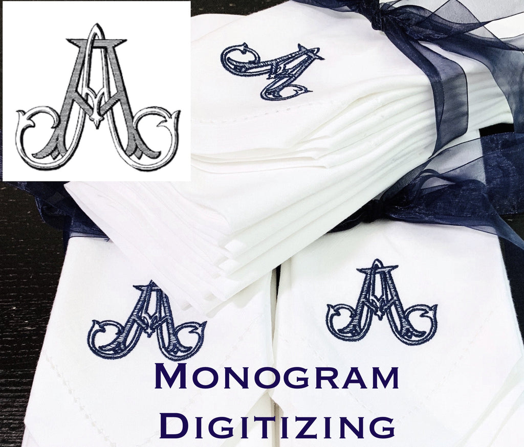 Digitizing Wedding Monogram - Custom Wedding Monogram Cloth Napkins-White Tulip Embroidery
