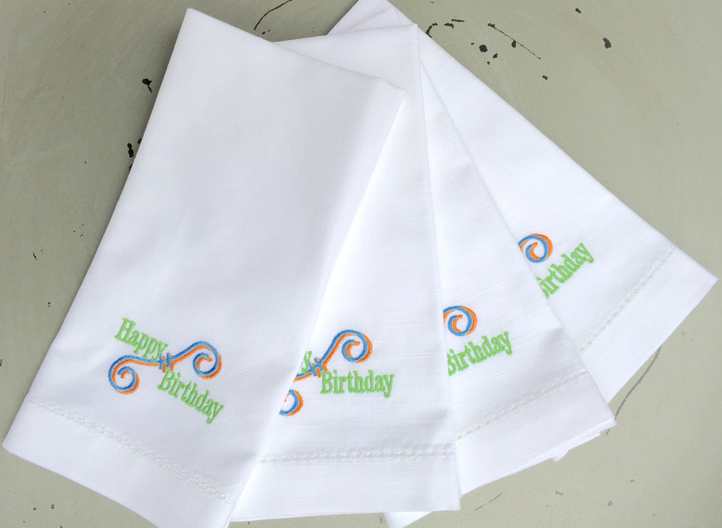 Happy Birthday Embroidered Cloth Napkins - Set of 4 napkins - White Tulip Embroidery