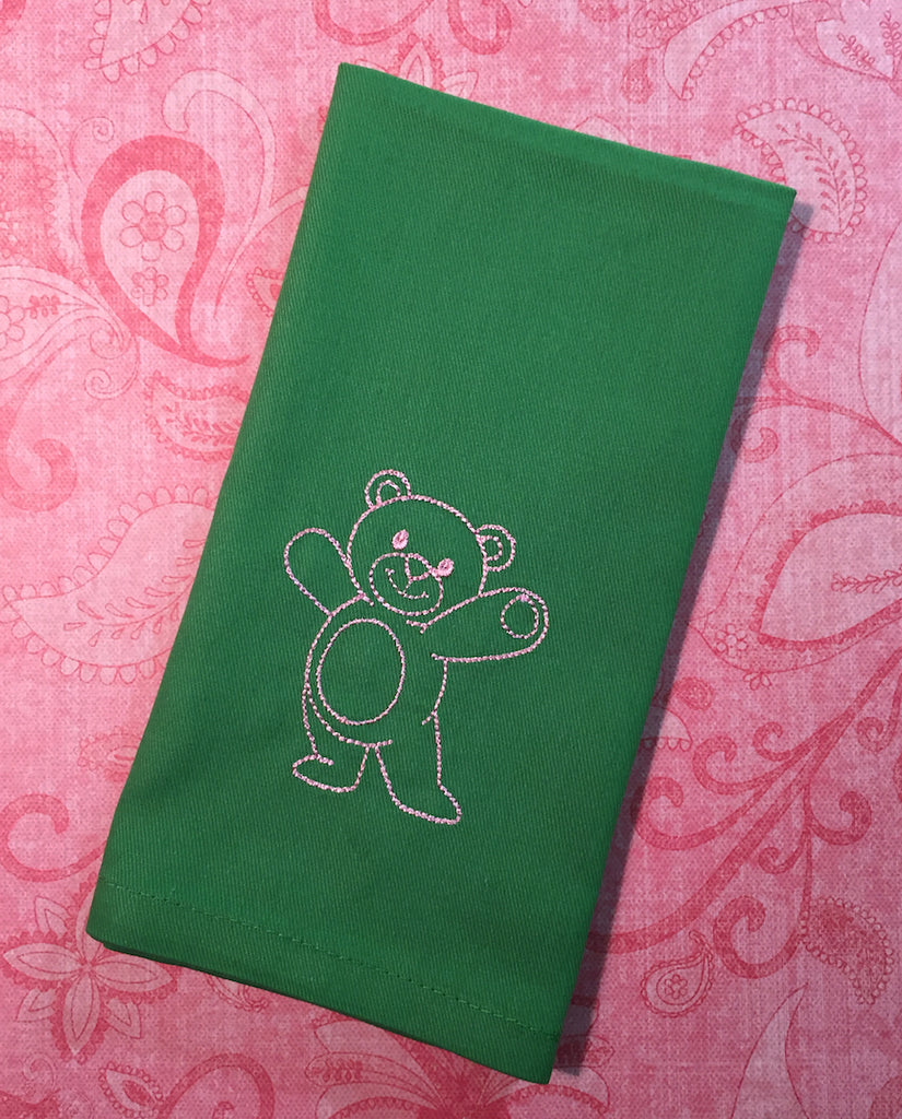 Teddy Bear Cloth Napkins-White Tulip Embroidery
