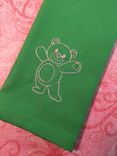 Teddy Bear Cloth Napkins - White Tulip Embroidery