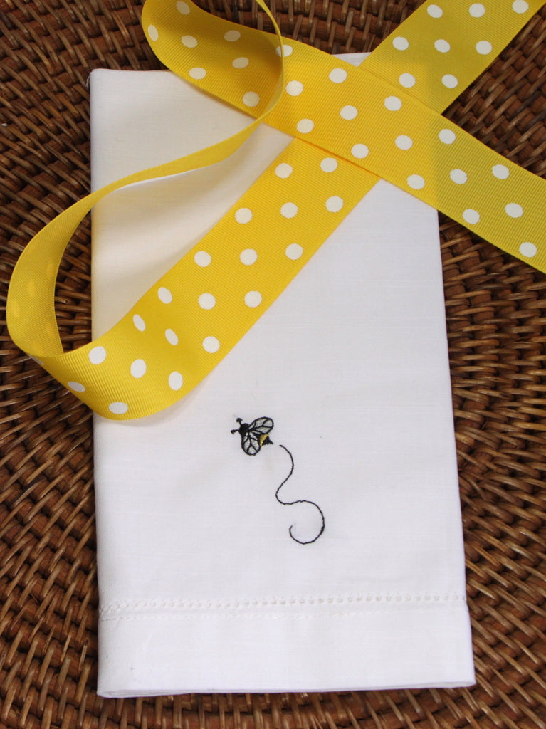 Bee Embroidered Cloth Napkins - Set of 4 napkins-White Tulip Embroidery