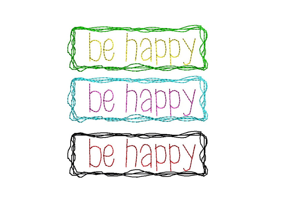 Be Happy Embroidered Inspirational Cloth Napkins - Set of 4 napkins