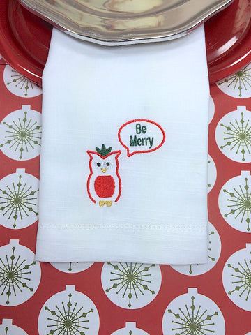 Christmas Embroidered Cloth Napkins White Tulip Embroidery