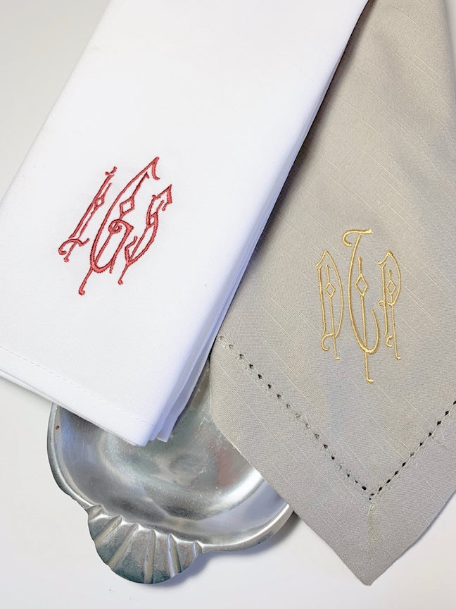 Blake Monogrammed Cloth Dinner Napkins - Set of 4 napkins - White Tulip Embroidery