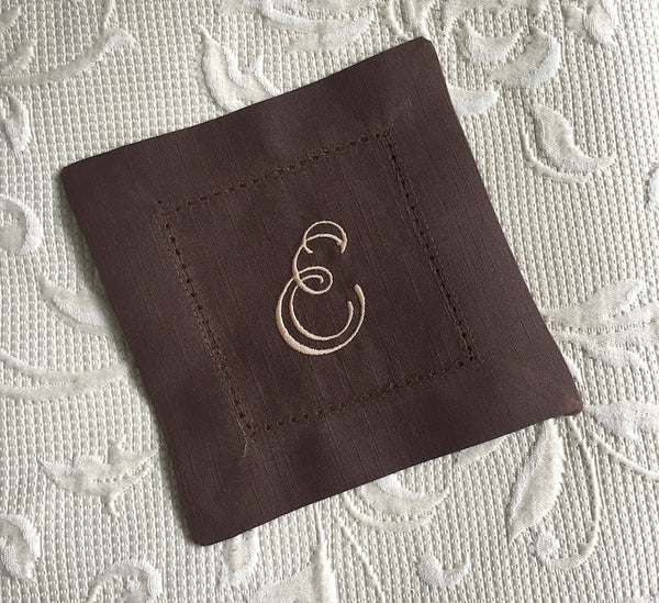 Monogrammed Brown Cloth Cocktail Napkins - Wedding cocktail linens - White Tulip Embroidery