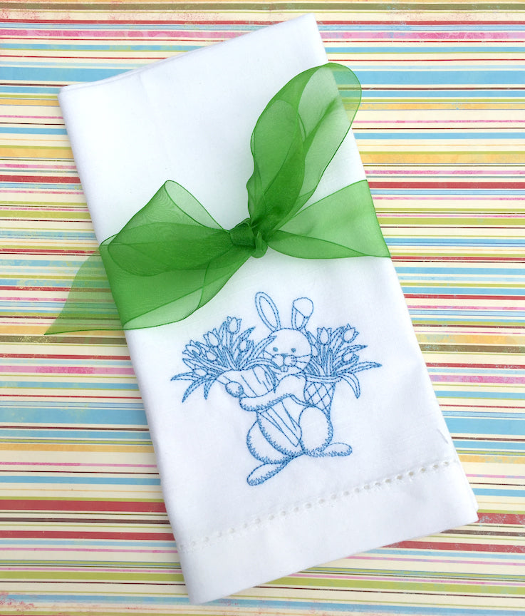 Easter Bunny with Flowers Embroidered Cloth Napkins - Set of 4 napkins - White Tulip Embroidery