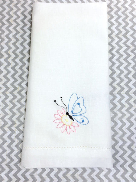 Butterfly Embroidered Cloth Napkins - Set of 4 napkins - White Tulip Embroidery