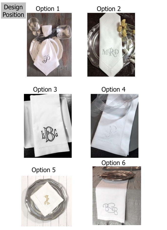 Custom D&F Monogrammed Wedding Napkins, Set of 50-White Tulip Embroidery
