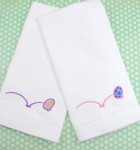 Bouncing Easter Egg Cloth Napkins - Set of 4 napkins - White Tulip Embroidery