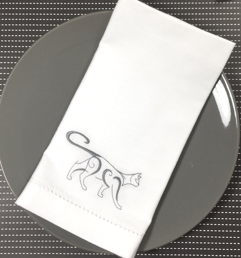 Cat Embroidered Cloth Napkins-White Tulip Embroidery