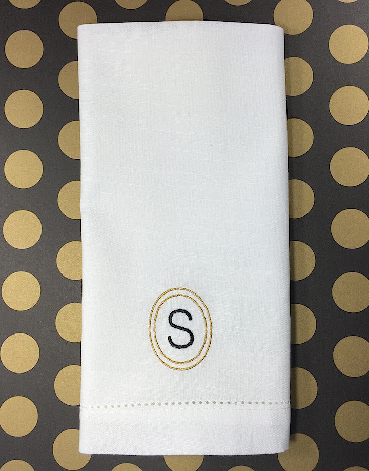Single Letter Circle Monogrammed Napkins - Set of 4 napkins-White Tulip Embroidery