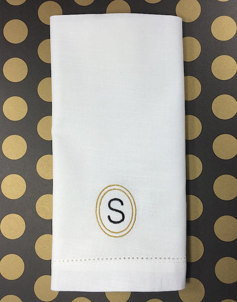 Single Letter Circle Monogrammed Napkins - Set of 4 napkins