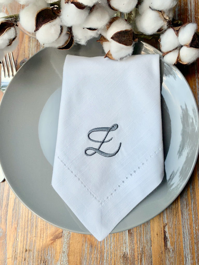 Set of 35, Your Choice Monogrammed Napkins-White Tulip Embroidery