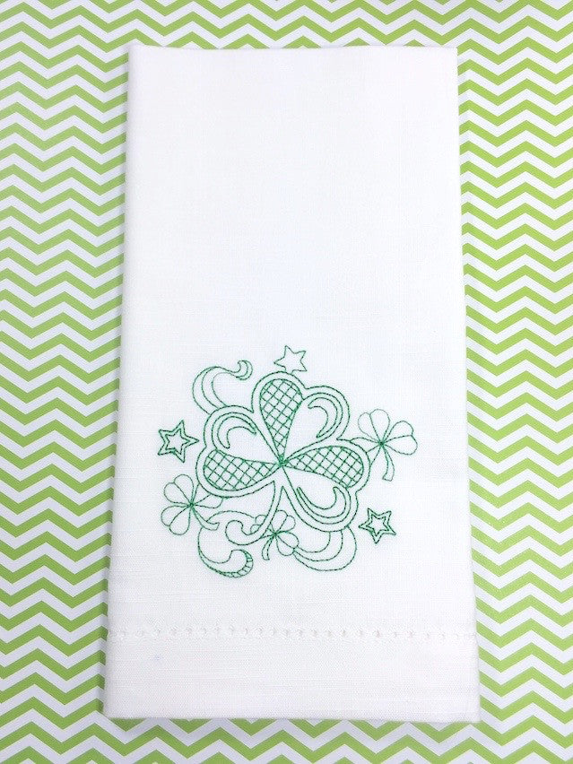 Clover St. Patrick's Day Cloth Napkins - Set of 4 napkins - White Tulip Embroidery