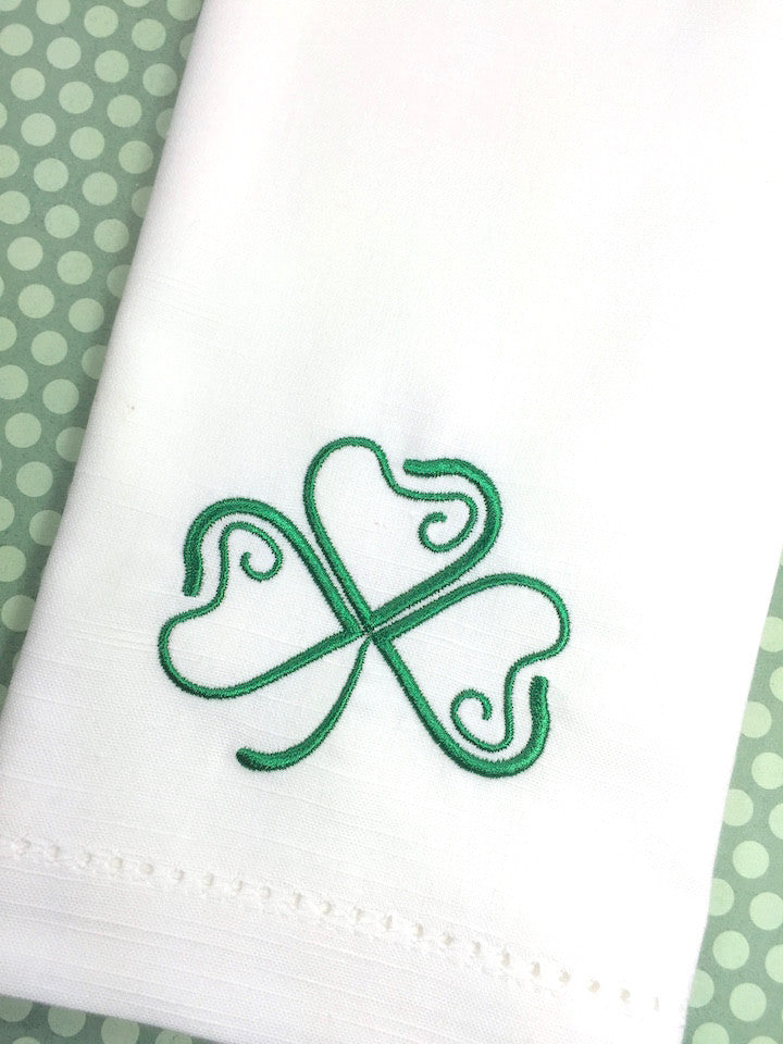 St. Patrick's Day Clover Cloth Napkins - Set of 4 napkins-White Tulip Embroidery