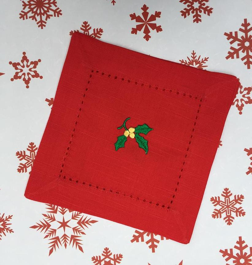 Christmas Holly Red Cloth Cocktail Napkins - Christmas cocktail linens - White Tulip Embroidery