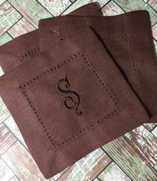 Monogrammed Brown Cloth Cocktail Napkins - Wedding cocktail linens-White Tulip Embroidery