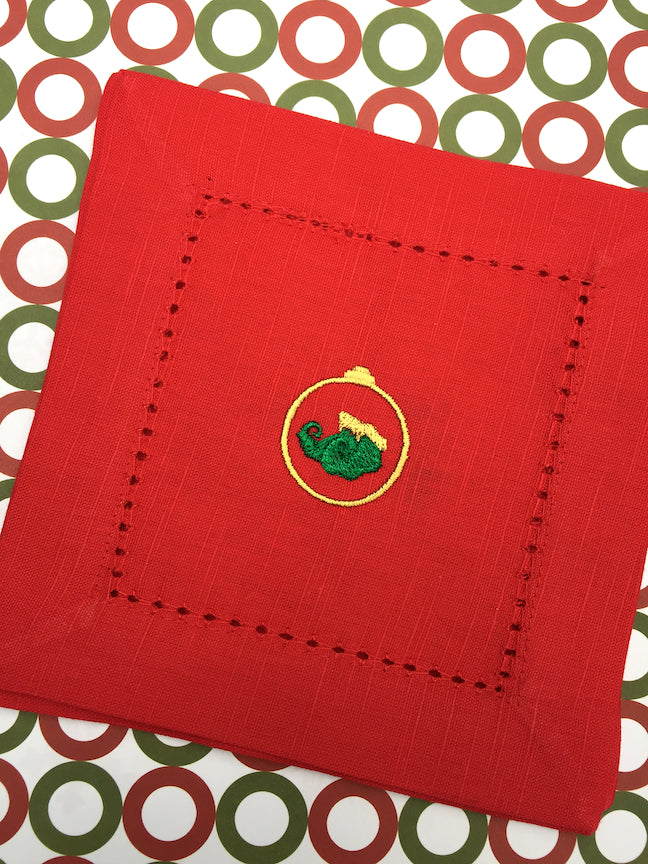 Christmas Elf Boots Red Cloth Cocktail Napkins - Christmas cocktail linens