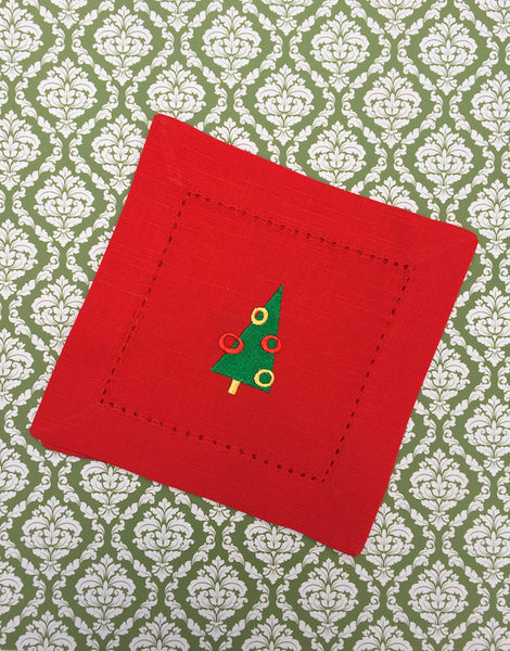 Christmas Tree Red Cloth Cocktail Napkins - Christmas cocktail linens - White Tulip Embroidery