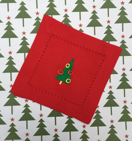 Christmas Tree Red Cloth Cocktail Napkins - Christmas cocktail linens