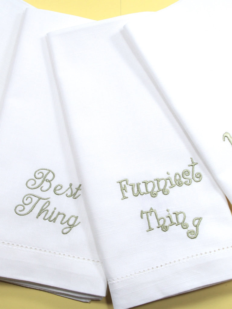Family Conversation Embroidered Cloth Napkins - Set of 4 napkins - White Tulip Embroidery