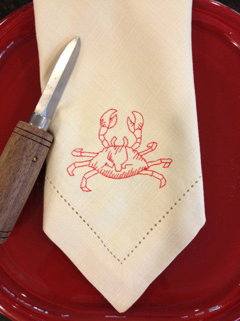 Crab Embroidered Cloth Napkins - Set of 4 napkins - White Tulip Embroidery