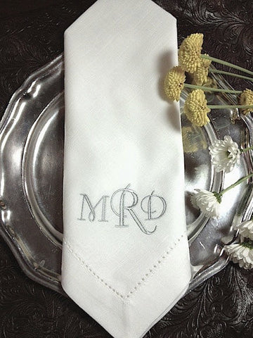 Fiona Crown Monogrammed Embroidered Cloth Napkins - White Tulip Embroidery