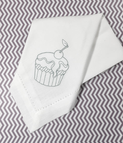 Birthday Cupcake Embroidered Cloth Napkins - White Tulip Embroidery