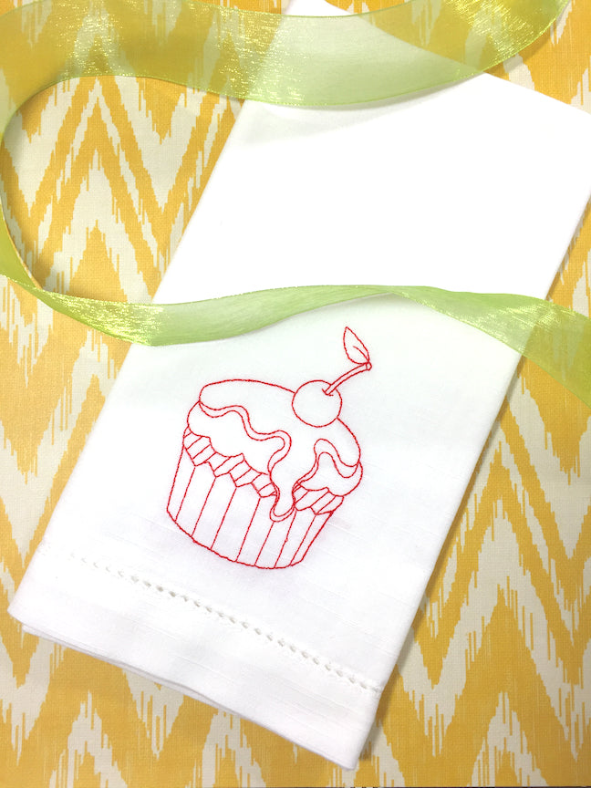 Birthday Cupcake Embroidered Cloth Napkins-White Tulip Embroidery
