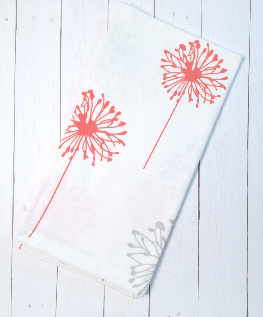 Orange and Grey Dandelion Cloth Napkins - Set of 4 cotton napkins - White Tulip Embroidery
