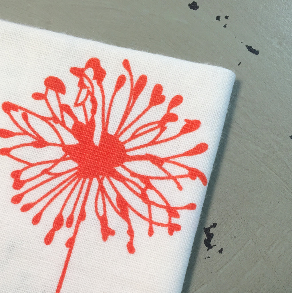 Orange and Grey Dandelion Cloth Napkins - Set of 4 cotton napkins-White Tulip Embroidery