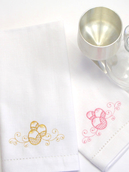 Elegant Easter Egg Embroidered Cloth Napkins - Set of 4 napkins - White Tulip Embroidery