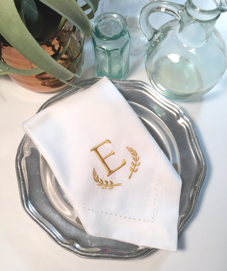 Leaf Monogrammed Embroidered Cloth Dinner Napkins - White Tulip Embroidery
