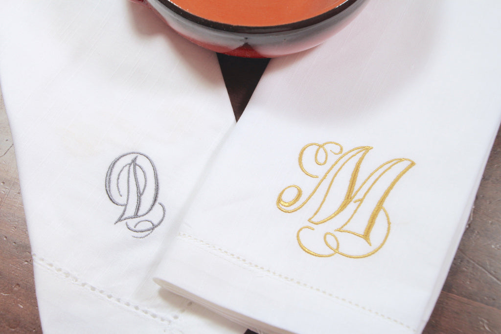 Olivia Monogrammed Embroidered Cloth Dinner Napkins - Set of 4 napkins-White Tulip Embroidery