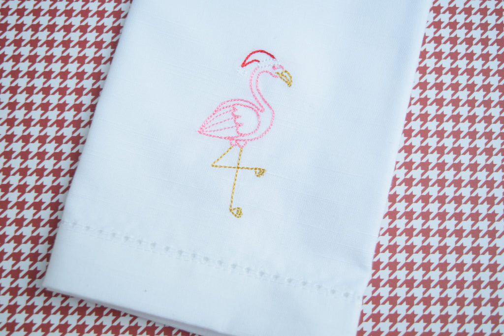 Flamingo Christmas Embroidered Cloth Napkins - White Tulip Embroidery