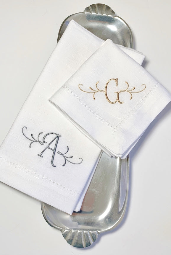 Flourish Monogrammed Embroidered Cloth Dinner Napkins - Set of 4 napkins - White Tulip Embroidery