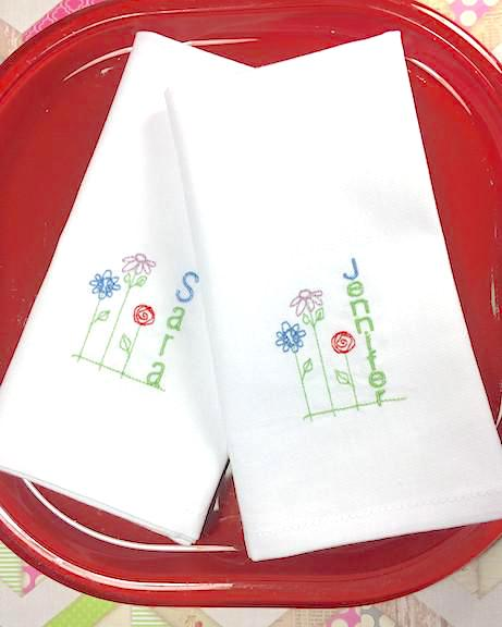 Flower Personalized Child's Lunchbox Napkins - White Tulip Embroidery