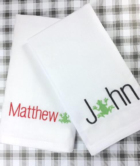 Personalized Child's Lunchbox Napkins - White Tulip Embroidery