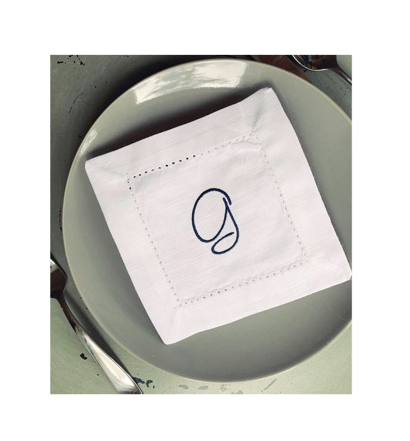 Set of 4 Monogrammed White Cocktail Napkins