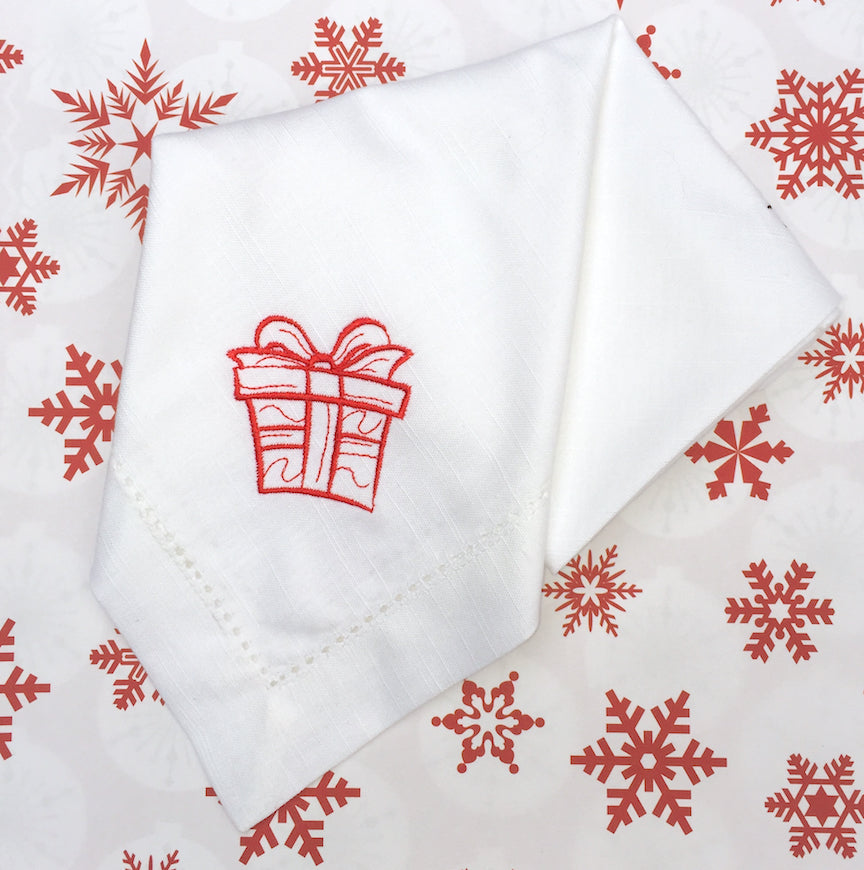 Christmas Present Cloth Napkins - Set of 4 gift napkins