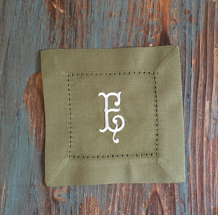 Monogrammed Green Cloth Cocktail Napkins - Wedding cocktail linens - White Tulip Embroidery