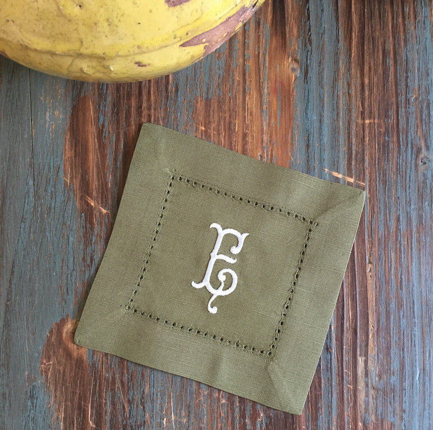 Monogrammed Green Cloth Cocktail Napkins - Wedding cocktail linens-White Tulip Embroidery