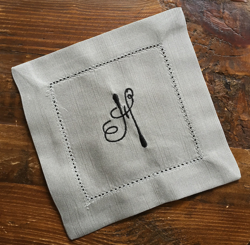 Monogrammed Grey Cloth Cocktail Napkins - Multiple fonts available - White Tulip Embroidery