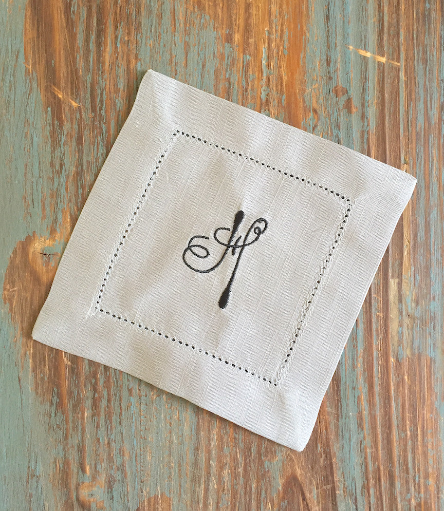 Monogrammed Grey Cloth Cocktail Napkins - Multiple fonts available-White Tulip Embroidery