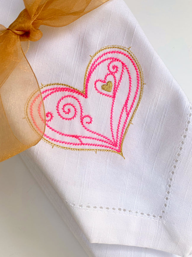 Doodle Heart Valentine's Day Cloth Napkins-White Tulip Embroidery